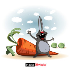 Happy Birthday smile Funny rabbit with carrot and cabbage gift