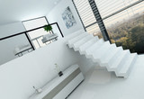 White loft interior with floor to ceiling window and stairs