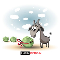 Happy Birthday smile goat and cabbage
