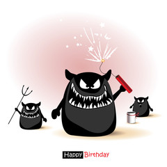 Happy Birthday smile monster cartoon