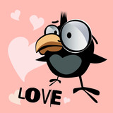 Happy Valentine's Day bird smile love