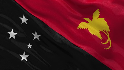 Flag of Papua New Guinea waing in the wind - seamless loop