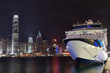 Night view on Hong Kong harbour liner