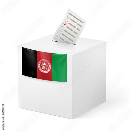 Ballot box with voting paper. Afghanistan
