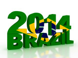 brazilian flag in 3d text on white background