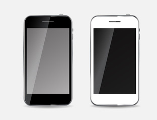 Abstract Design Black and White Mobile Phones. Vector Illustrati
