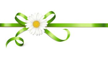 Grüne Schleife mit Margeritenblüte