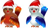 Two birds with Santa's hat