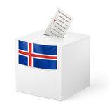 Ballot box with voting paper. Iceland.
