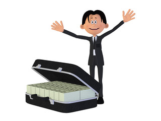 Businessmann with a case full of money, isolated on the white ba