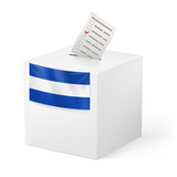 Ballot box with voting paper. El Salvador