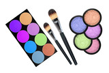 set of 5 eyeshadows and brushes isolated on white background