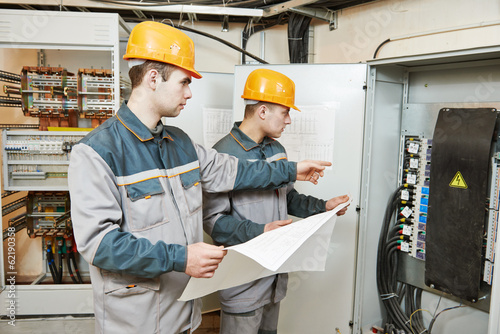 two electrician workers
