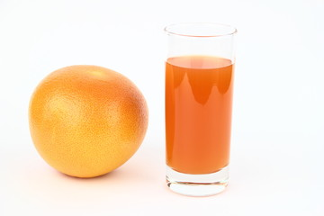 The grapefruits and drink on the white background