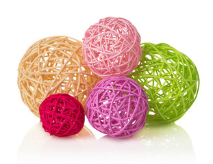 Colored  decorative wicker balls, isolated on white