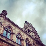 Looking up at Chester Town Hall, United Kingdom