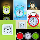 Collage of different clocks