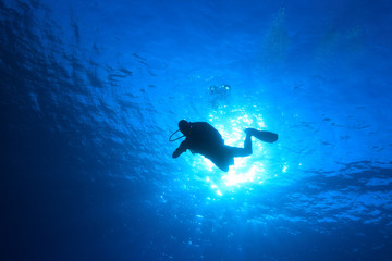 Silhouette of scuba diver in the oean