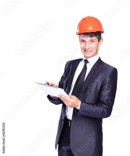 handsome businessman using tablet computer
