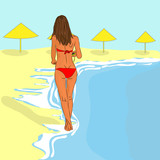 vector girl on the beach
