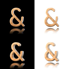 Three dimensional wooden ampersand symbol. Isolated on white and