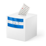 Ballot box with voting paper. Honduras