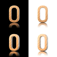 Three dimensional wooden letter O. Isolated on white and black.