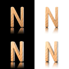 Three dimensional wooden letter N. Isolated on white and black.