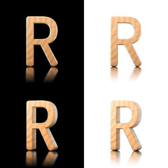 Three dimensional wooden letter R. Isolated on white and black.