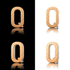 Three dimensional wooden letter Q. Isolated on white and black.