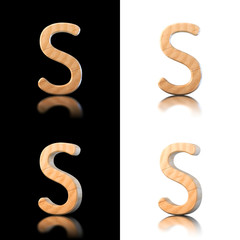 Three dimensional wooden letter S. Isolated on white and black.