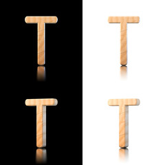 Three dimensional wooden letter T. Isolated on white and black.