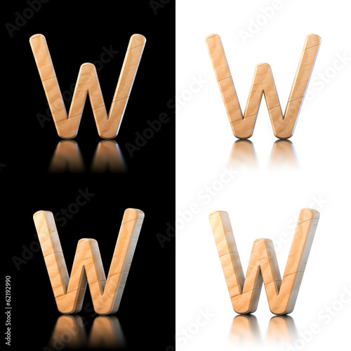 Three dimensional wooden letter W. Isolated on white and black.
