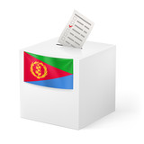 Ballot box with voting paper. Eritrea