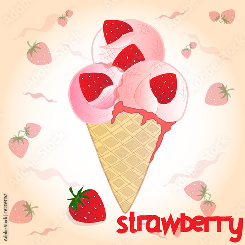 strawberry icecream on the pink background
