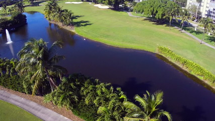 Aerial golf course and lake