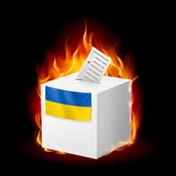 Fiery ballot box of Ukraine. Revolution sign