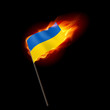 Fiery flag of Ukraine. Revolution sign