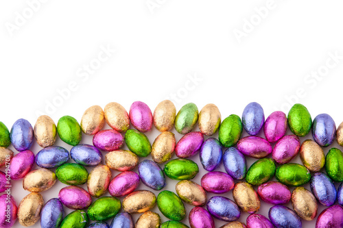 Mini chocolate eggs wrapped in colourful foil