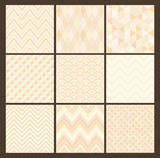 Seamless geometric hipster background set. White Color Patterns