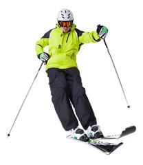 Man skier freestyler jumping