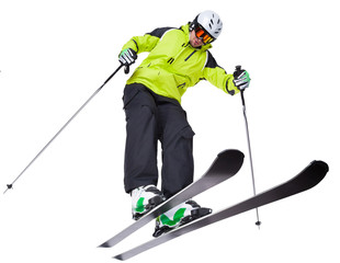 Man skier freestyler jumping