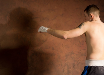 Boxer standing ready for his opponent