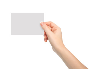 isolated woman hand holding a piece of paper