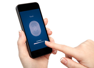 woman hand holding the phone and entering the PIN code of finger