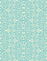 vector vintage turquoise and beige floral seamless pattern