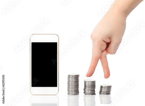 isolated female hand up the steps of the coins to the white phon