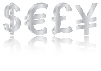 World Silver Currencies Set With Reflection On White