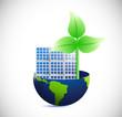 globe, solar panel and eco windmill illustration