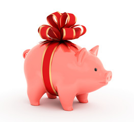 Piggy Gift Bank. 3D rendered image